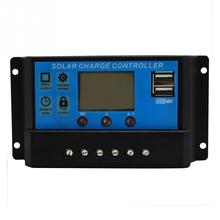 PWM 10/20/30A Solar Charge Controller 12V 24V LCD Display Dual USB Solar Panel Charge Regulator