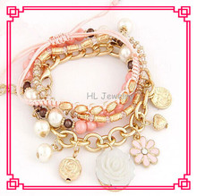 2014 Latest Design Style 3 Layers Hand Making Pearl Stone Solid Flower Alloy Ladies  Bracelet  In Hot  Sale