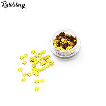 Rolabling 1PC/BOX Golden Nail Art Accessories UV Gel Polish Nail Decoration Powder Snow Flake Design Nail Glitter Powder Dust