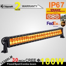 Free Shipping!!! Super bright 3W Leds cre e chips 30 inch 180w amber led light bar for off road trucks