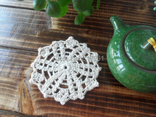 100% natural cotton crochet lace doiliesor tea table decoration coaster felt placemat table pads 50 pics/lot Beige 12cm napkin
