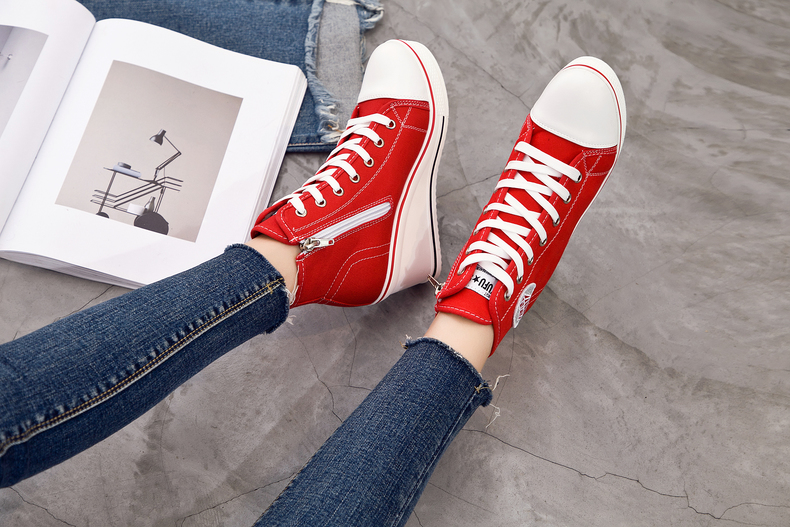 Women's Shoes Hidden Wedge Heel Shoes 18 Women Casual Shoes Canvas Sneakers High Top Breathable Platform Chaussure Femme 9