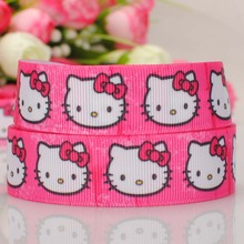 "free shipping 50 yards 7/8 "" 22mm hot pink background hello kitty pattern printed grosgrain tape ribbon DIY hairbow"