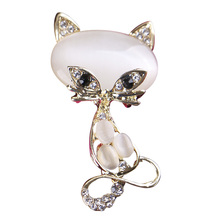 Wholesale Glisten Clear Crystal Rhinestone Cat Brooches Fashion Costume Pin Brooch Jewelry 2017 new