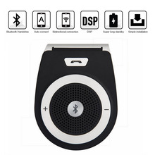 Black Handsfree Bluetooth Car Kit For iPhone Speakerphone Noise Cancelling Multipoint Wireless Clip On Sun Visor Portable Car(China)