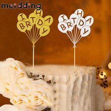 MEIDDING 1pcs Gold/Silver Brithday Cake Topper Cake Flags Baby Shower Child Kid Birthday Cake Accessories Party Supplies(China)