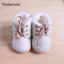Ninharuiie Baby Shoes Boys Girls Shoes Winter Warm Booties For Newborns Infant Bebe Prewalkers Toddler Baby Striped Boots Baby