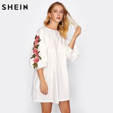 SHEIN Embroidered Applique Lantern Sleeve Smock Dress White A Line Casual Autumn Dress Women Long Sleeve Dress