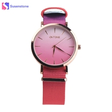 Rainbow Gradient Color Women Fashion Watch 2017 Analog Quartz Round Wrist Watch Nylon Band Ladies Casual Sport Watches relogio(China)