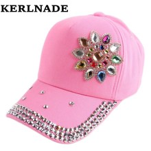 good qaulity caps new popular girl children 54 CM size spring summer floral baseball cap rhinestone fashion snapback hats(China)