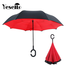 Yesello Red Reverse Folding Double Layer Guarda Chuva Inverted Umbrella Self Stand Inside Out Rain Protection For Long Car