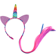 Crown Glitter Cat Ear Hairband With Braid Wig Headband For Kid Girls Birthday Gift Hair Hoop Hair Accessories(China)