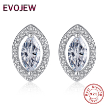 EVOJEW Eye Shape Stud Earring Fashion 925 Sterling Silver Crystal Earrings for Women Dazzling CZ Luxury Jewelry Accessories