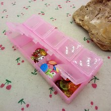 3pcs Transparent Plastic Rectangle 10 lattice Storage Box Jewelry Button Beads Case Container A991(China)