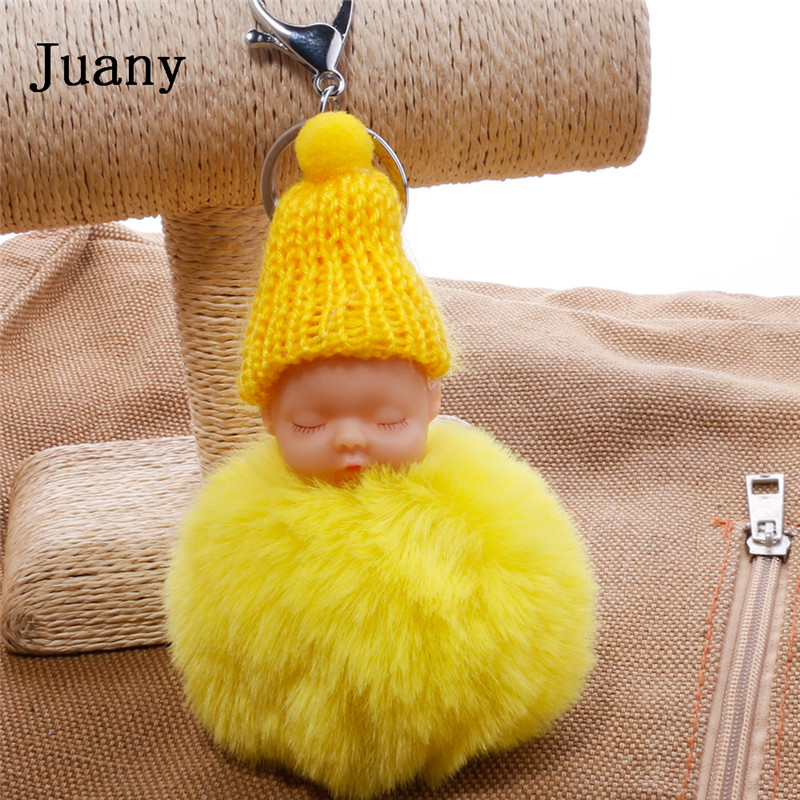 pompom key chain sleeping baby key chain cut rabbit fur ball keychain car key ring women keychian bag charm porte clef13
