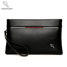 YUES KANGAROO Brand Men Clutch bag PU Leather Large Capacity Soft Leather Casual Envelope Wallets Youth mobile phone Handy Purse(China)