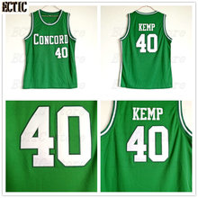 2018 ECTIC Cheap Shawn Kemp 40 Concord High School Minutemen Away Basketball Jersey Throwback Green Embroidery Retro Mens Shirts(China)