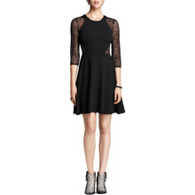 Celebrity Fashion Women Skater Dress Sexy See Through 3/4 Sleeve Crochet Black Party Dresses Casual A-Line Vestidos Plus Size
