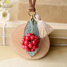 Original Handmade Coral Stone Berry Leaves Long Necklaces & Pendants For Women Forest Style Lady Vintage Jewelry Accessories(China)