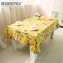 Luxury Flower Printed White Red Yellow and Coffee Colors Table Cloth Soft Cotton Rectangle Table Cover Tablecloth Toalha De Mesa(China)