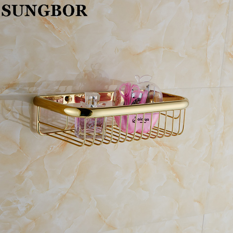 bathroom accessories Continental golden rectangle basket Storage basket full copper shower bathroom racks monolayer GJ-7913K<br><br>Aliexpress