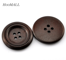 "Hoomall Wholesale 50PCs Dark Coffee 4 Holes Round Wooden Sewing Buttons 30mm(1 1/8"") Dia. Sewing Accessories"