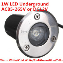 Waterproof 1W LED Underground Lamp Floor buried LED Light Warm White/Cold White/Red/Green/Blue/Yellow/ AC85-265V or DC12V(China)