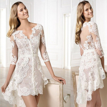 White Lace Appliques Wedding Dresses Hi-lo Front Short Long Back Sheer 2016 3/4 Sleeves Sheath Mini Bridal Gown robe de marriage