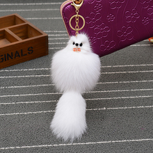 Genuine Fox Tail Fur Keychain Fashion Charms Trinket Car Pendant Key Chain Ring creative women bag Key holder Jewelry giftEH-650(China)