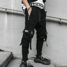 Mens Pants Streetwear Hip-Hop Black Multi-Pocket Casual Ribbons M-3XL