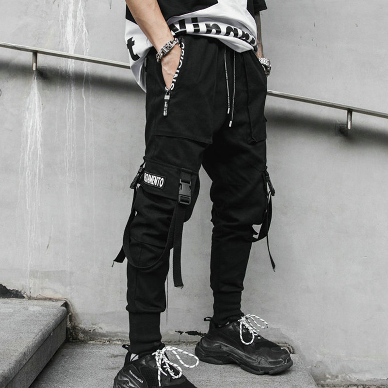 Mens Pants Ribbons Streetwear Hip-Hop Black Multi-Pocket Casual Man M-3XL title=
