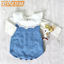 0-2YRS Infant Romper Newborn Baby Knitting Clothes Baby Girl Boys Cotton Knit Rompers Baby Jumper Sleeveless Knitted Clothing