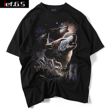ief.G.S 2017 Trend Cotton Men's Wolf Print Short Sleeve Europe and The United States Street Casual Men's Short Sleeved T-shirt(China)