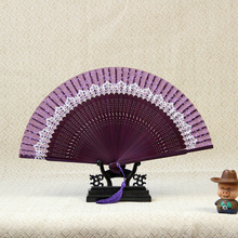 New Arrival Japeneses Black Leques Ladies Folding Silk Hand Fans,Wholesale Personalized Bamboo Fan Of Old Wedding Decoration 9(China)