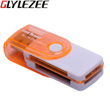 Glylezee All in 1 Multi-Function USB Card Reader 4 in 1 SD TF MS M2 Memory Card Smart Reader for Desktop Laptop