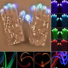LED Gloves Rave Light Finger Lighting Flashing Glow Mittens Rave A2