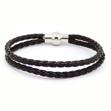 Buy 2016 Pure Handmade Leather Bracelet Fashion Jewelry Men Bracelet Casual Personality Retro Two layer Bracelet for $1.08 in AliExpress store