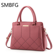 women leather handbag for lady zipper soft thread crossbody bags 2017 new fahsion design casual tote bag(China)