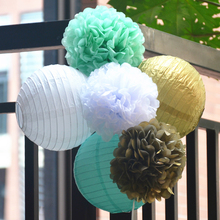 White Mint Gold Color Theme Round Chinese Paper Lantern Birthday Wedding Party Decor Gift Craft DIY Promotion Pom Poms(China)
