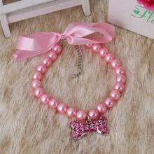 Dog Pearls Necklace Collar Rhinestones Bone Charm Pendant Pet Puppy Cat Jewelry Free Shipping /S/M/L