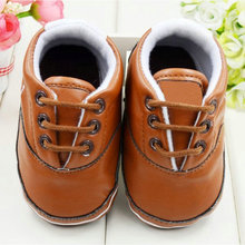 Newborn Child Kids Baby Boy Girl Faux Leather Soled Lace-Up First Walkers Walking Shoes