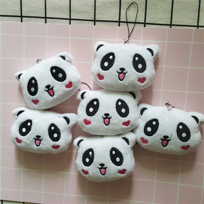 Fashion Panda Emoji Plush Toys Key Chain Ring Pom Bear Keychain Woman Bag Charms Man Car Keyring Wedding Party Trinket Jewelry (12)