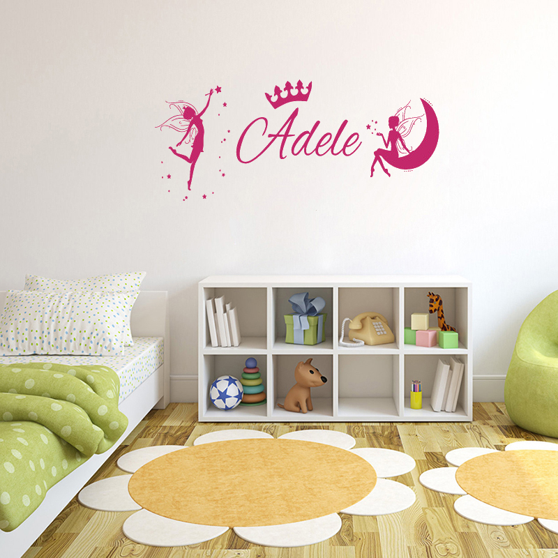 fairies on the moon removable wall stickers for nursery kids
