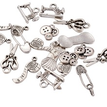 Sewing Knitting Themed Tibetan Style Alloy Pendants, Scissor, Pipe, Safety Pin, Yarn Clew, Button, Sewing Machine Charms, Lead(China)
