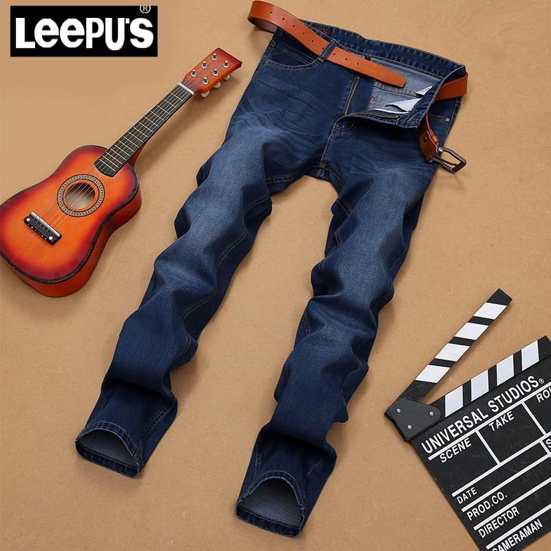LEEpus Brand Mens Jeans Blue high quality Pure jeans summer casual jeans Middle-waisted Midweight straight full length 2065#Îäåæäà è àêñåññóàðû<br><br>