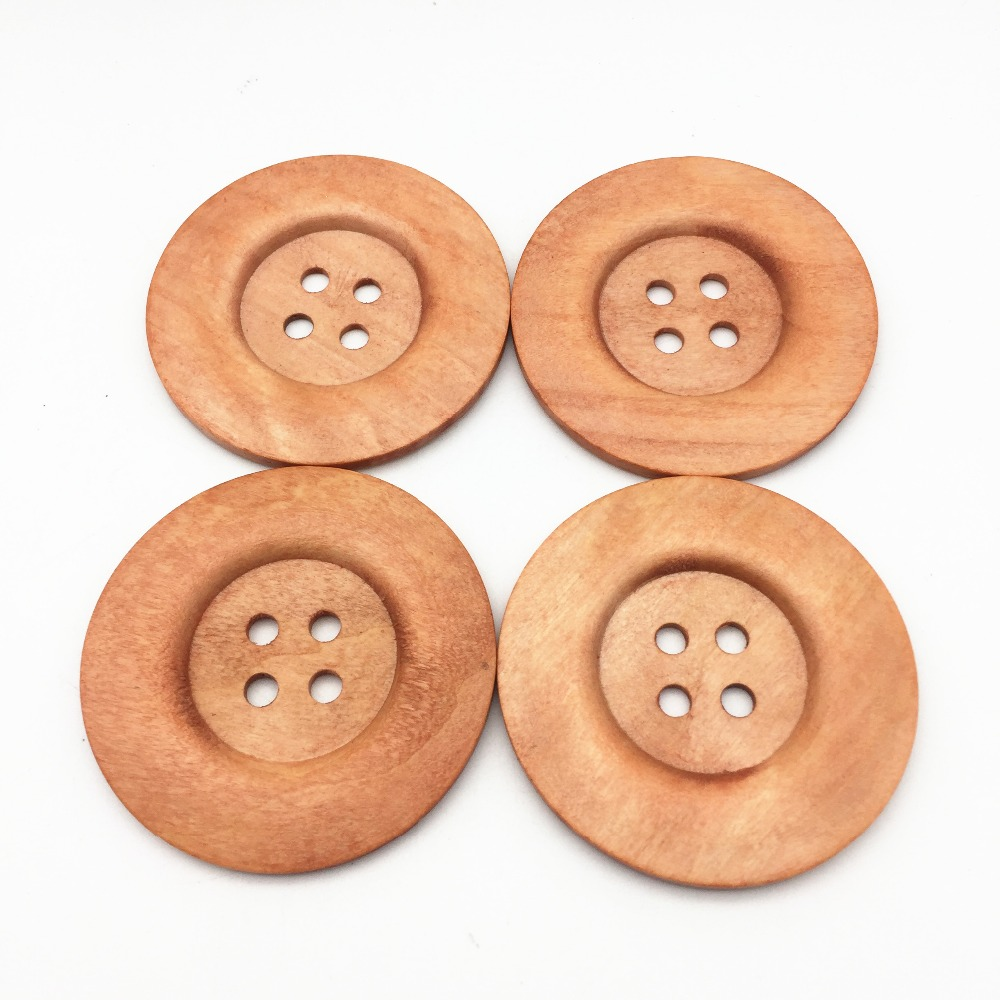 20pcs Round Wooden 4 Holes 50mm Button Sewing DIY Handcraft For Coat Cloth Decor