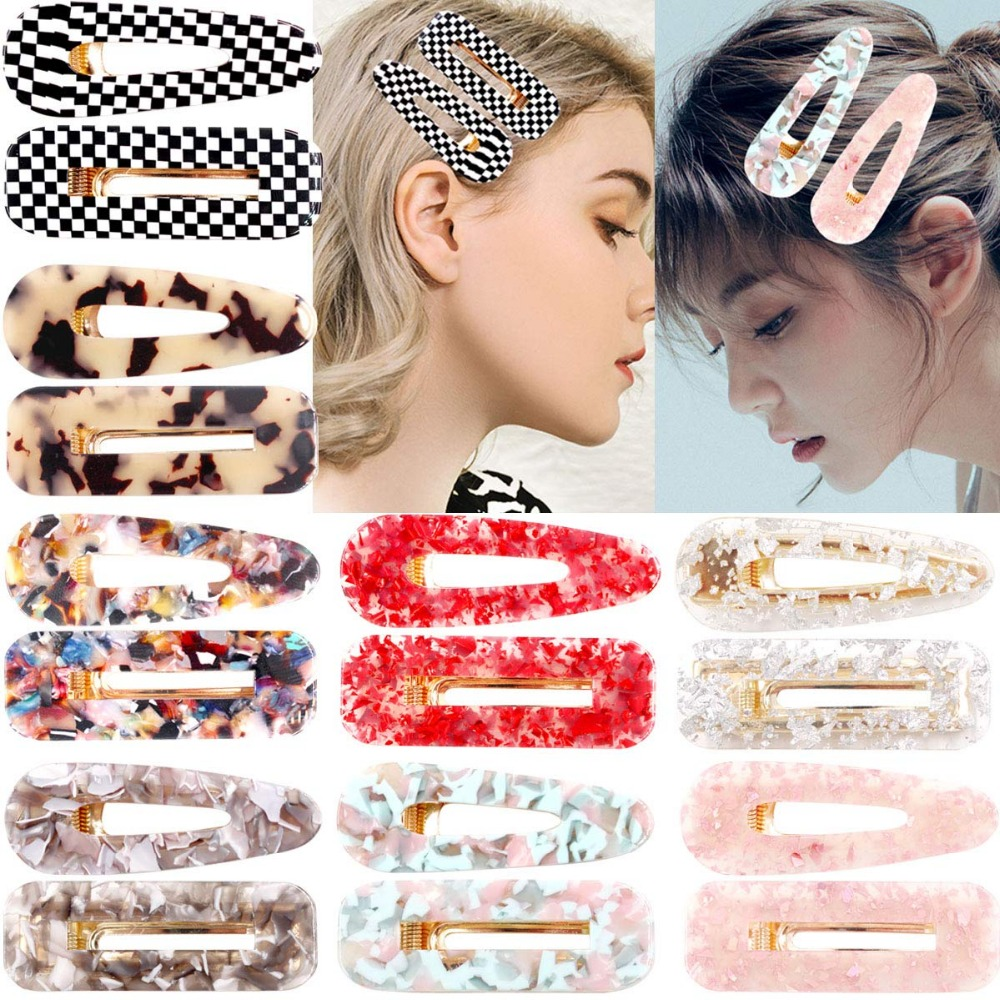 Women Acrylic Geometric Hairpin Side Snap Barrette Clip Hair Accessories Style