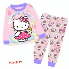 Wholesale 2017 Girls Pink Hello Kitty Pajamas Kids Cartoon Pyjamas Children Autumn Clothing Sets For 2-7Y 9252