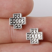 Hot New Arrivals 8*8mm 11pcs Zinc Alloy Charms Cross Beads Antique Silver Charms Pendants Jewelry Findings Fit Jewelry DIY