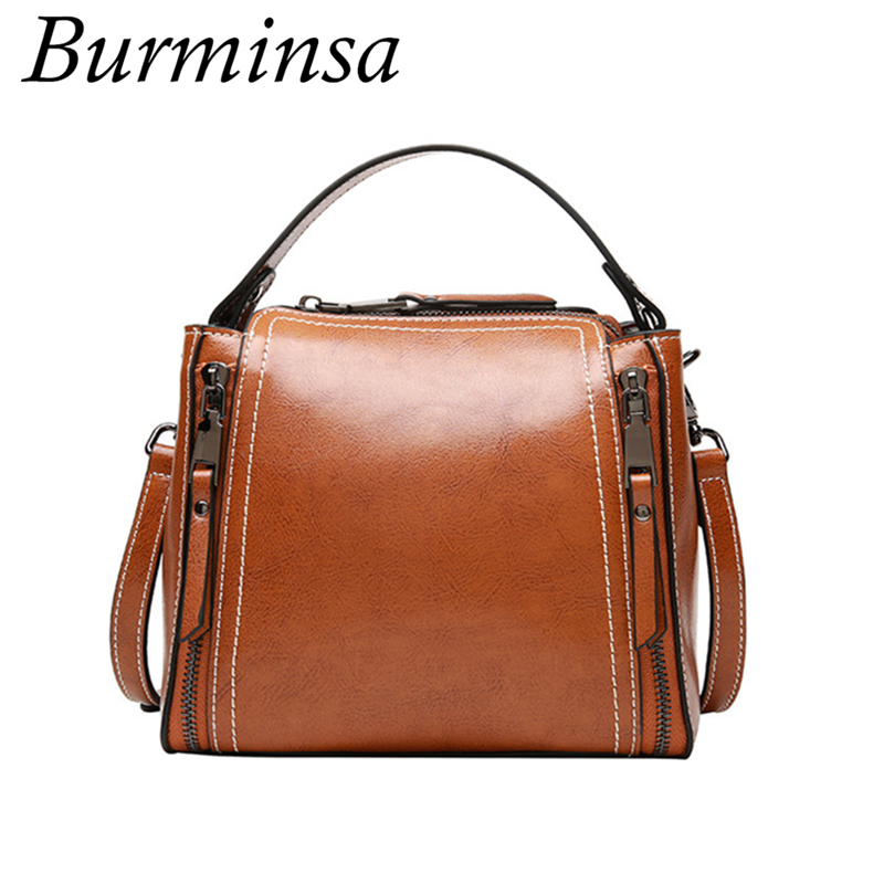 Burminsa Brand Vintage Mini Bucket Bags Womens Genuine Leather Handbags Designer High Quality Ladies Shoulder Crossbody Bags<br>